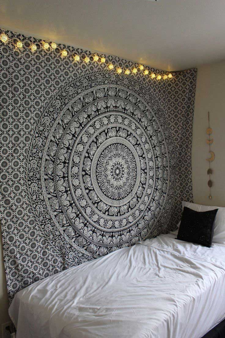 black and white floral hippie elephant mandala tapestry. Black Bedroom Furniture Sets. Home Design Ideas