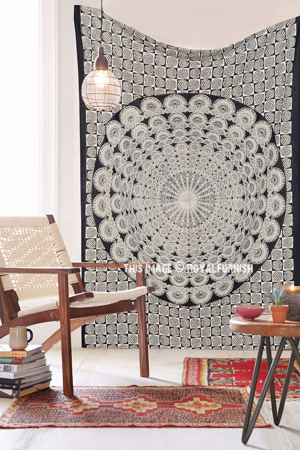 Black And White Peacock Wings Mandala Wall Tapestry