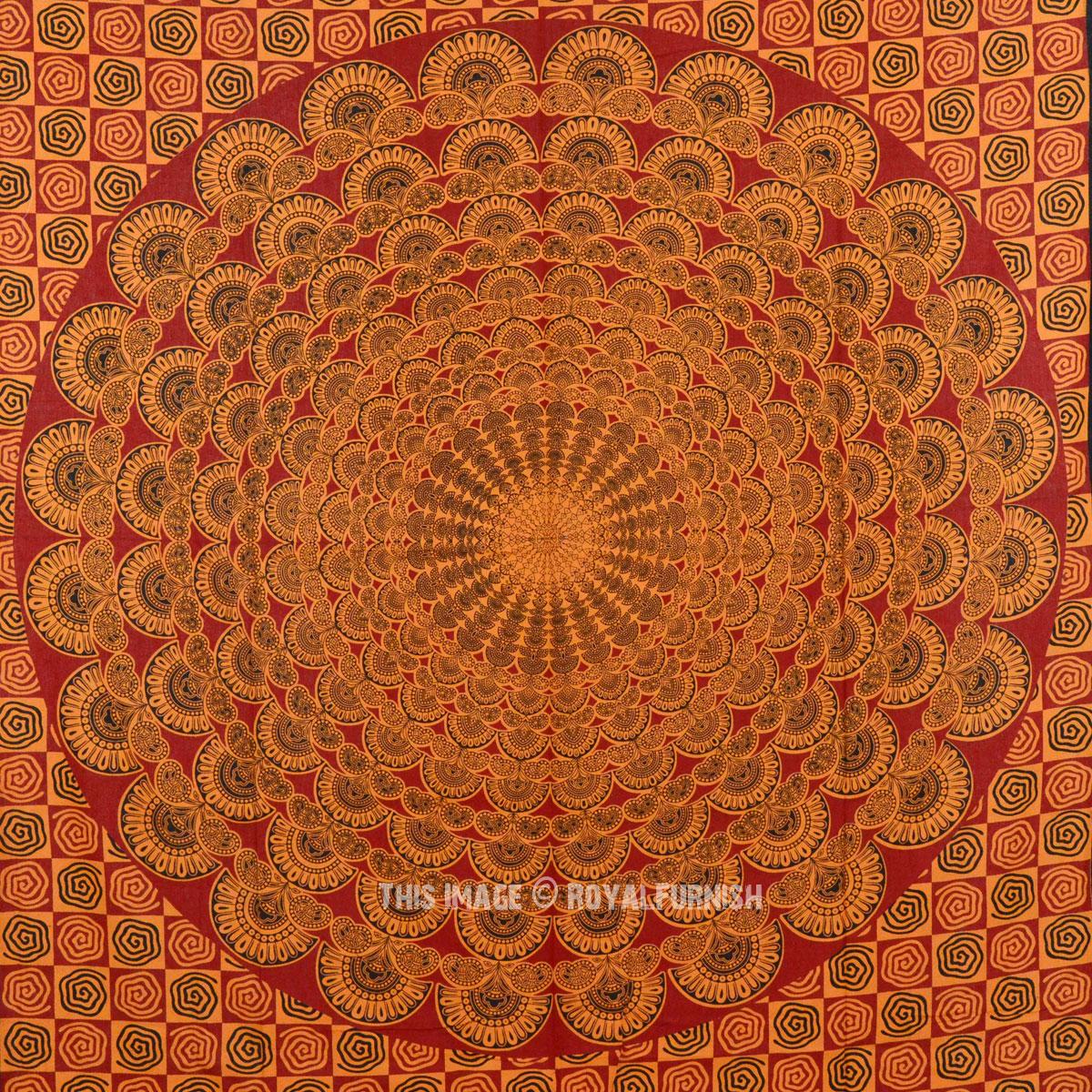 Small Red Peacock Wings Mandala Wall Tapestry, Bohemian Bedding - RoyalFurnish.com