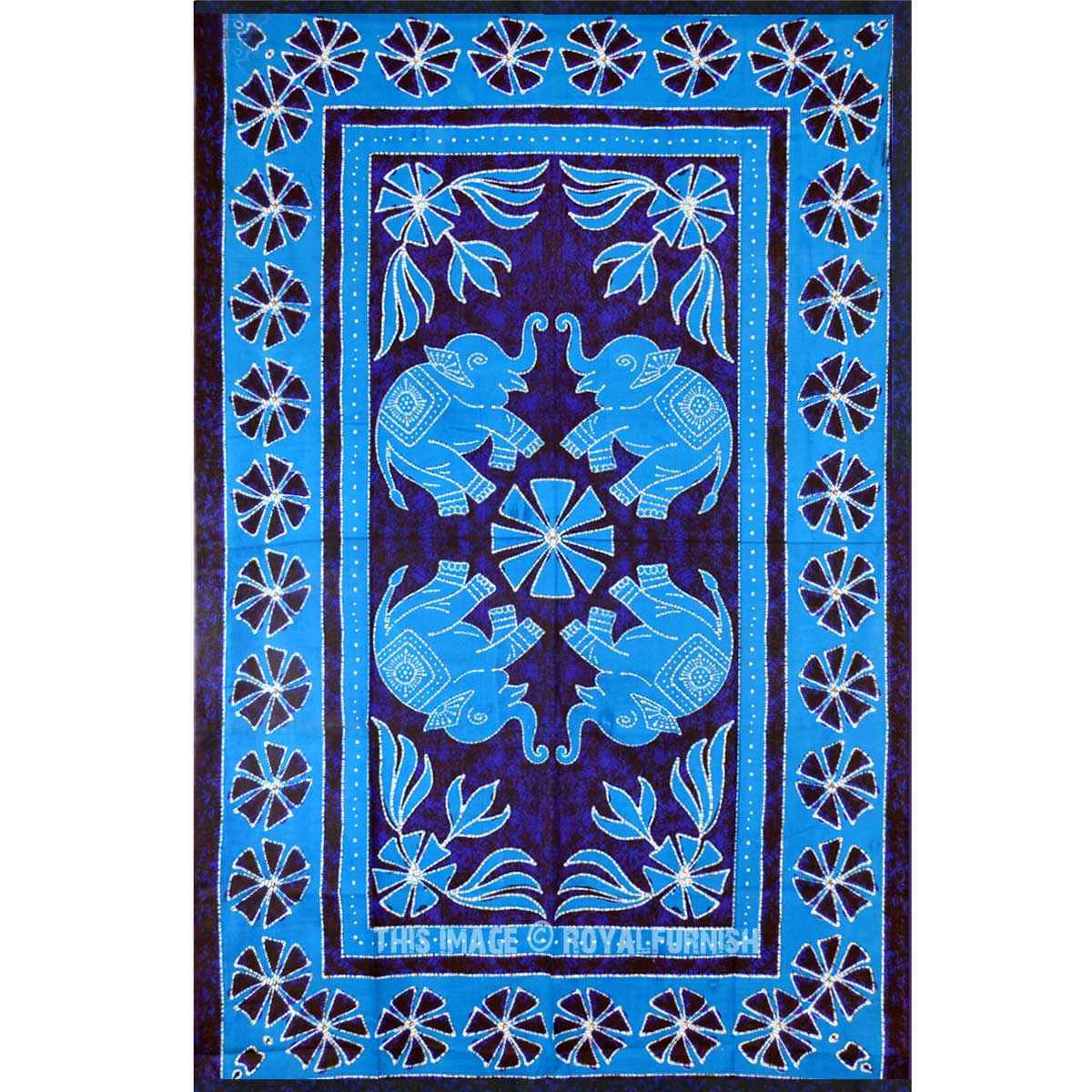 Turquoise Blue Four Elephants Batik Tapestry Wall Hanging