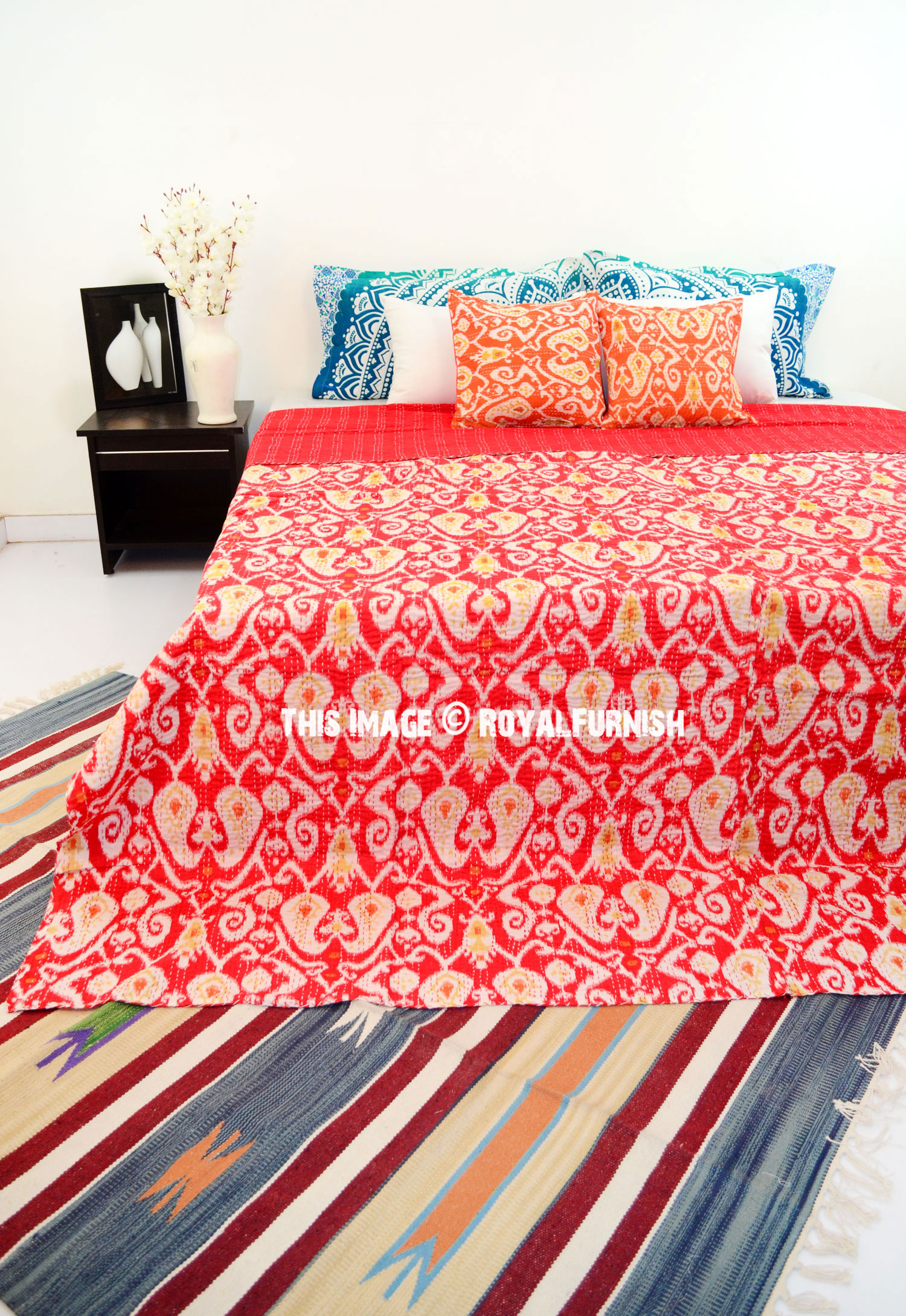 Red Queen Size Ikat Paisley Kantha Quilt Blanket Bedding