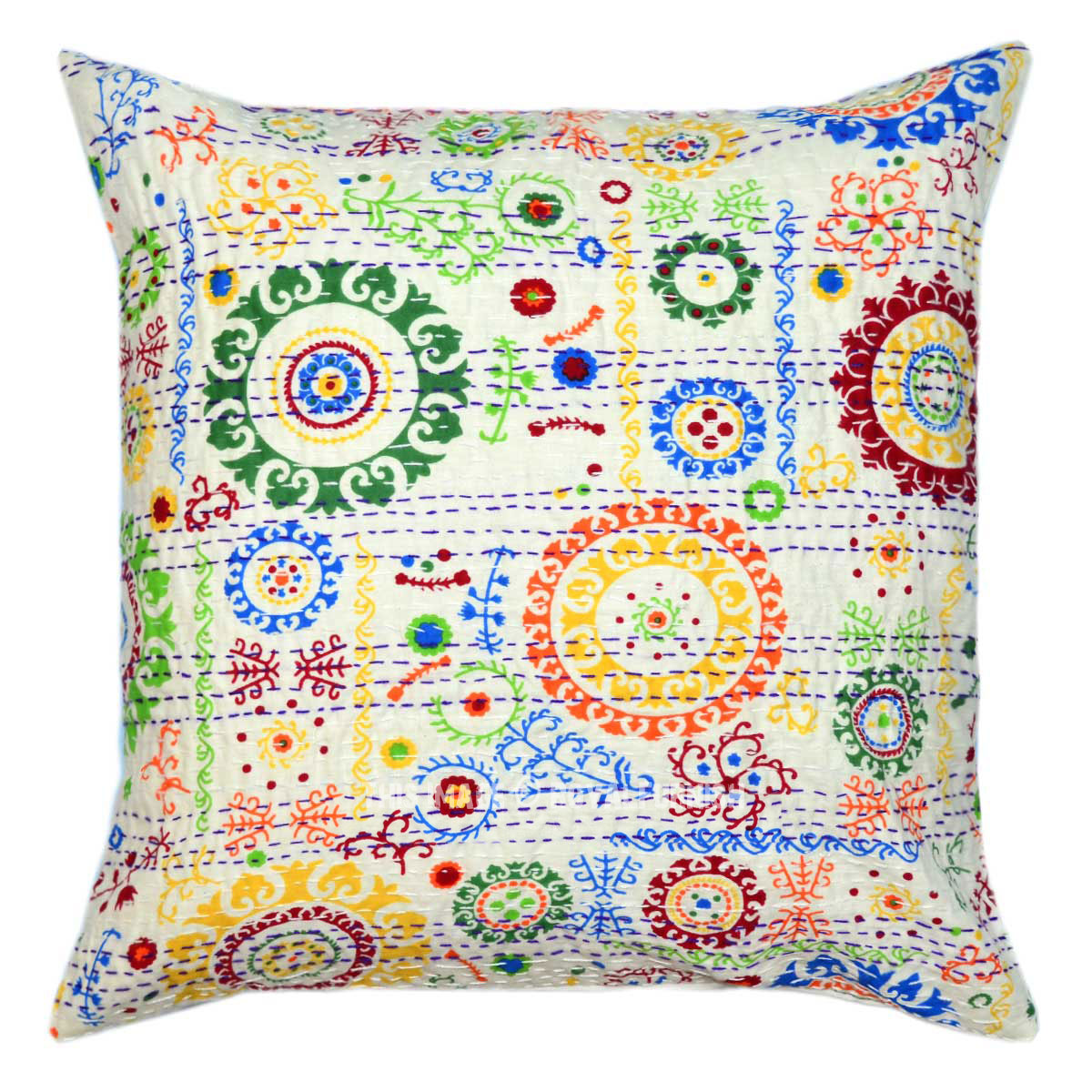 18X18 White Decorative Multi Round Circle Cotton Throw Pillow Cover - RoyalFurnish.com