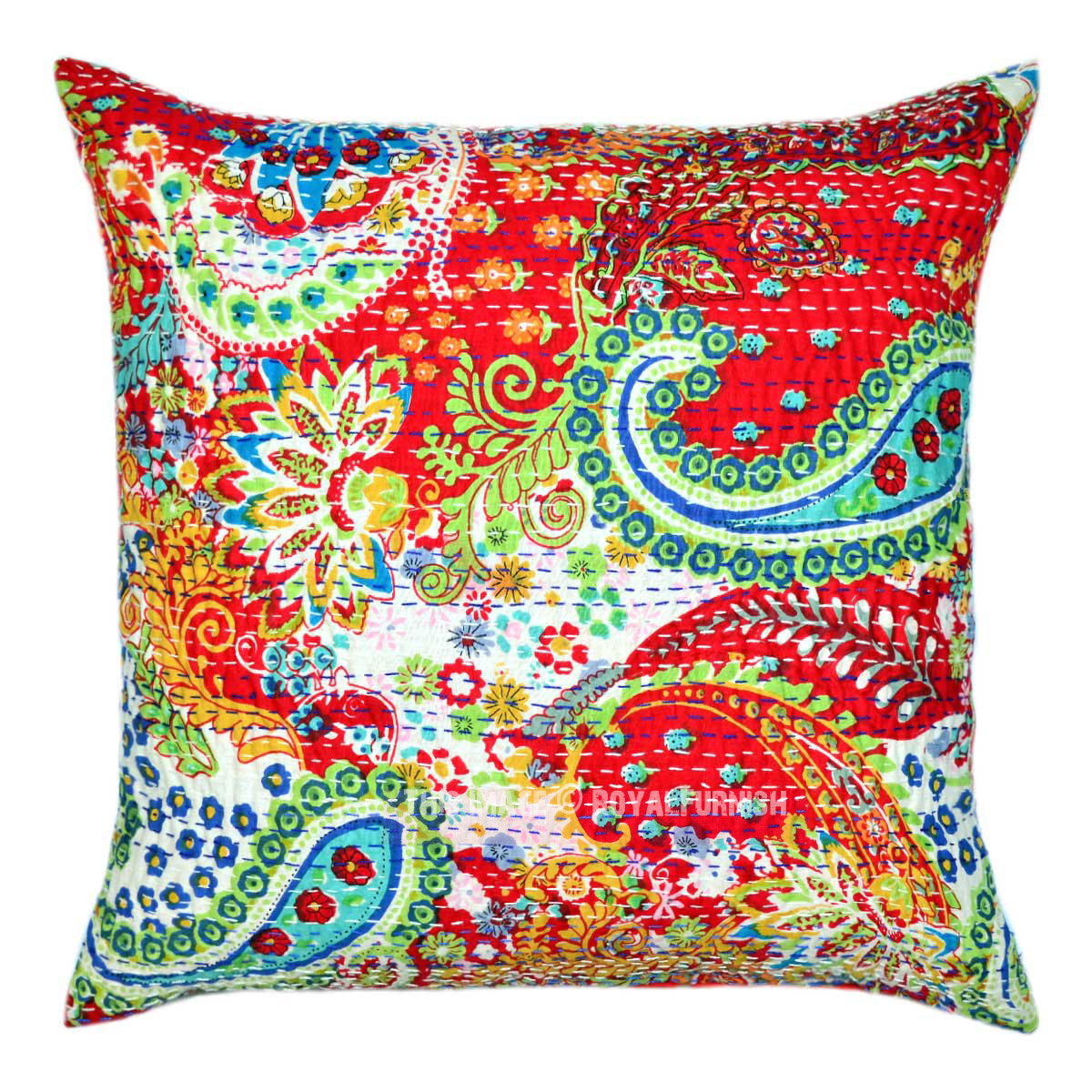 Decorative Pillow Cover Mcqueen Red Multi : 20X20 Red Multi Paisley Kantha Throw Pillow Case - RoyalFurnish.com