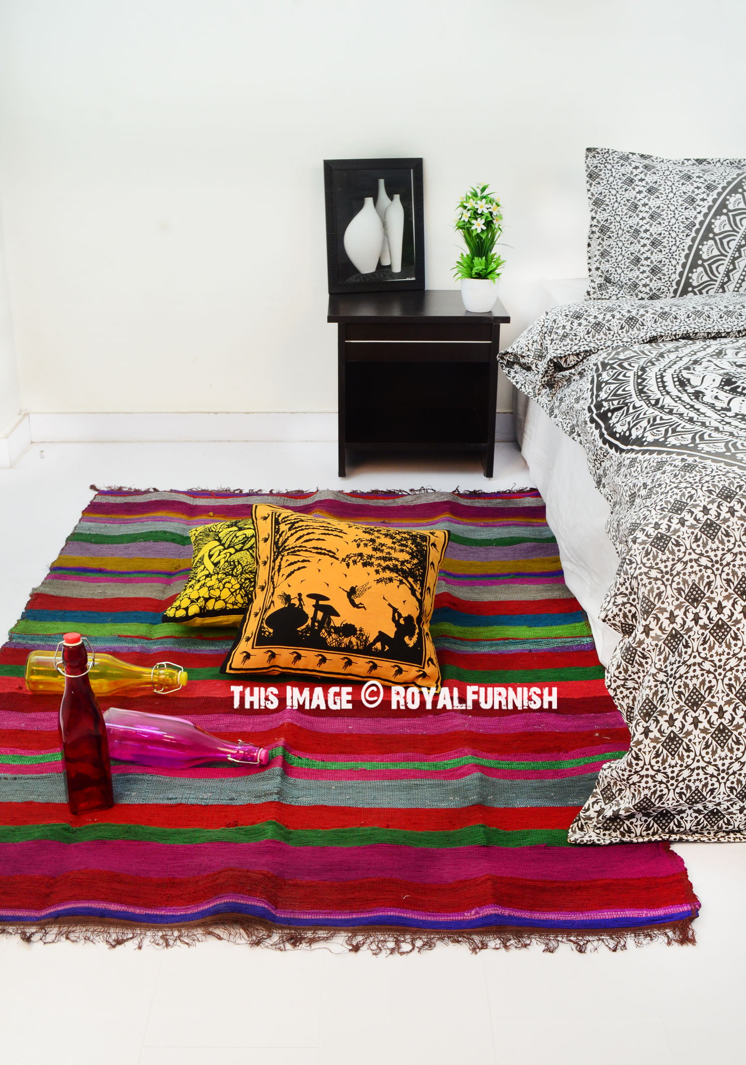 Multi Hand Woven Colorful Stripes Pattern Chindi Rag Rug