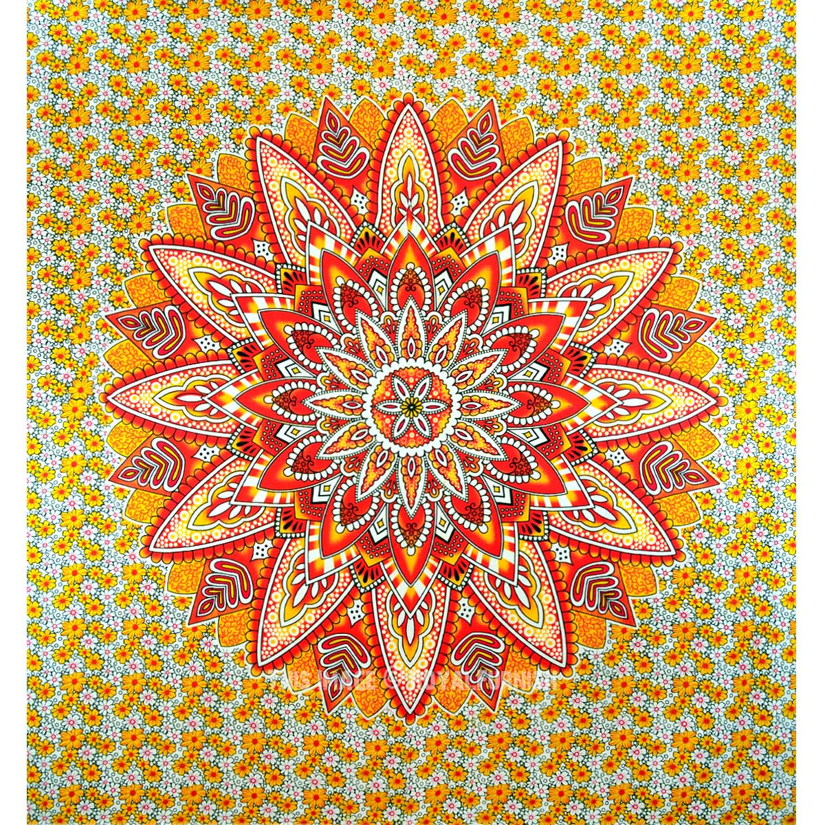 Yellow Giant Flower Circle Ombre Medallion Tapestry