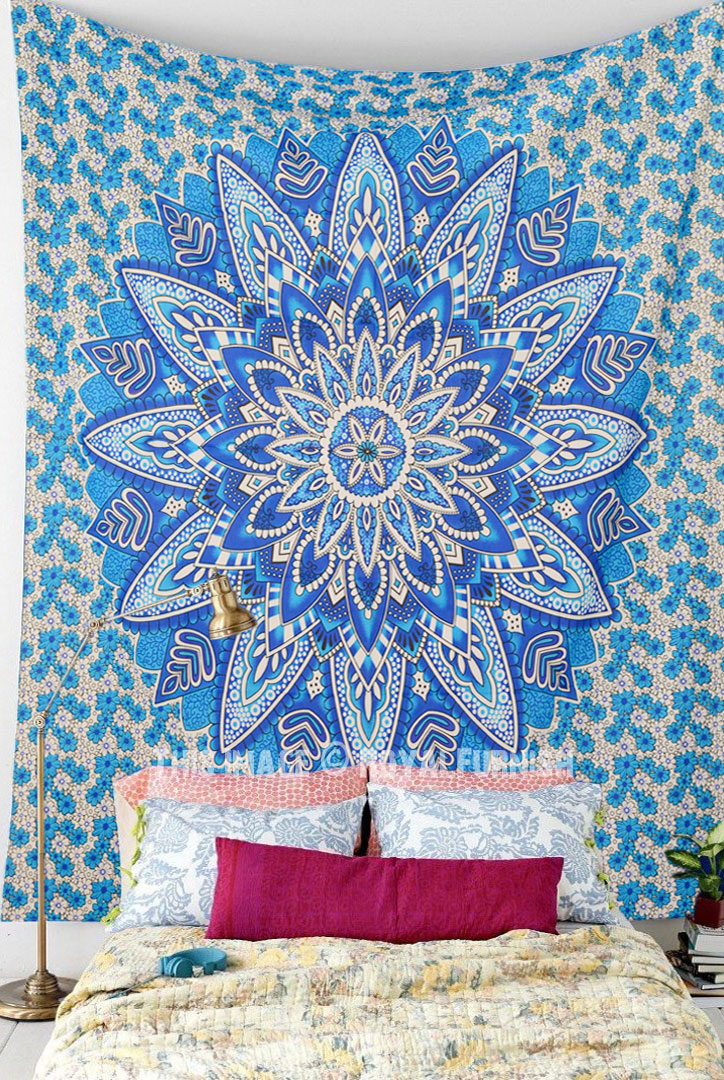 Blue Multi Giant Flower Circle Mandala Tapestry Wall