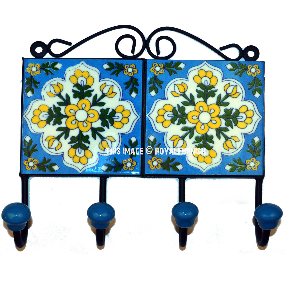 Home Decor Wall Hooks : Turquoise flowers hand painted ceramic wall hook