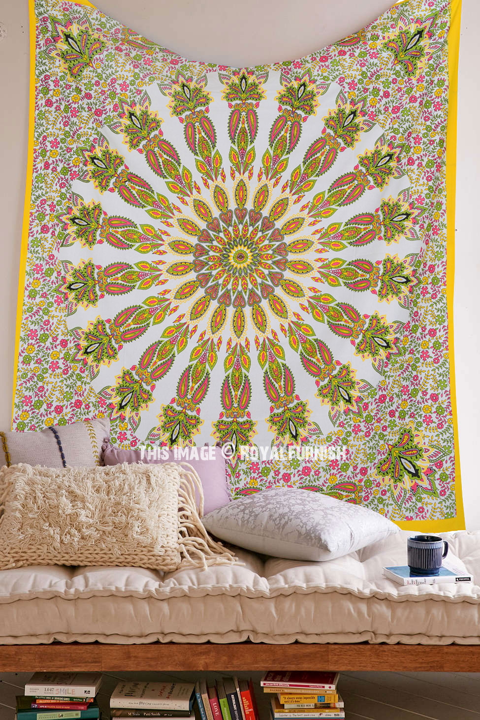 Yellow Multi Small Paisley Medallion Mandala Circle