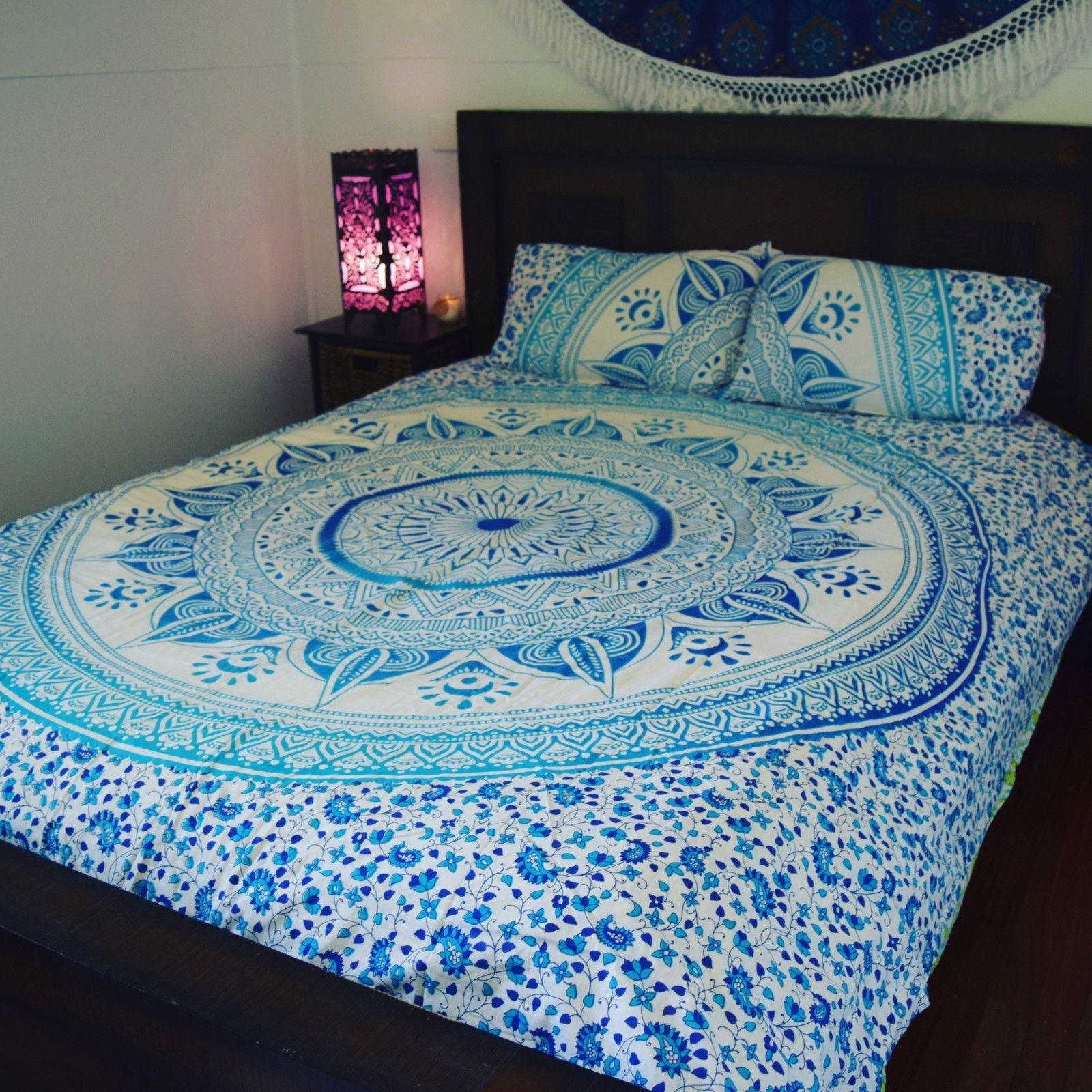 Blue Amp White Ombre Medallion Circle Duvet Cover Set With 2