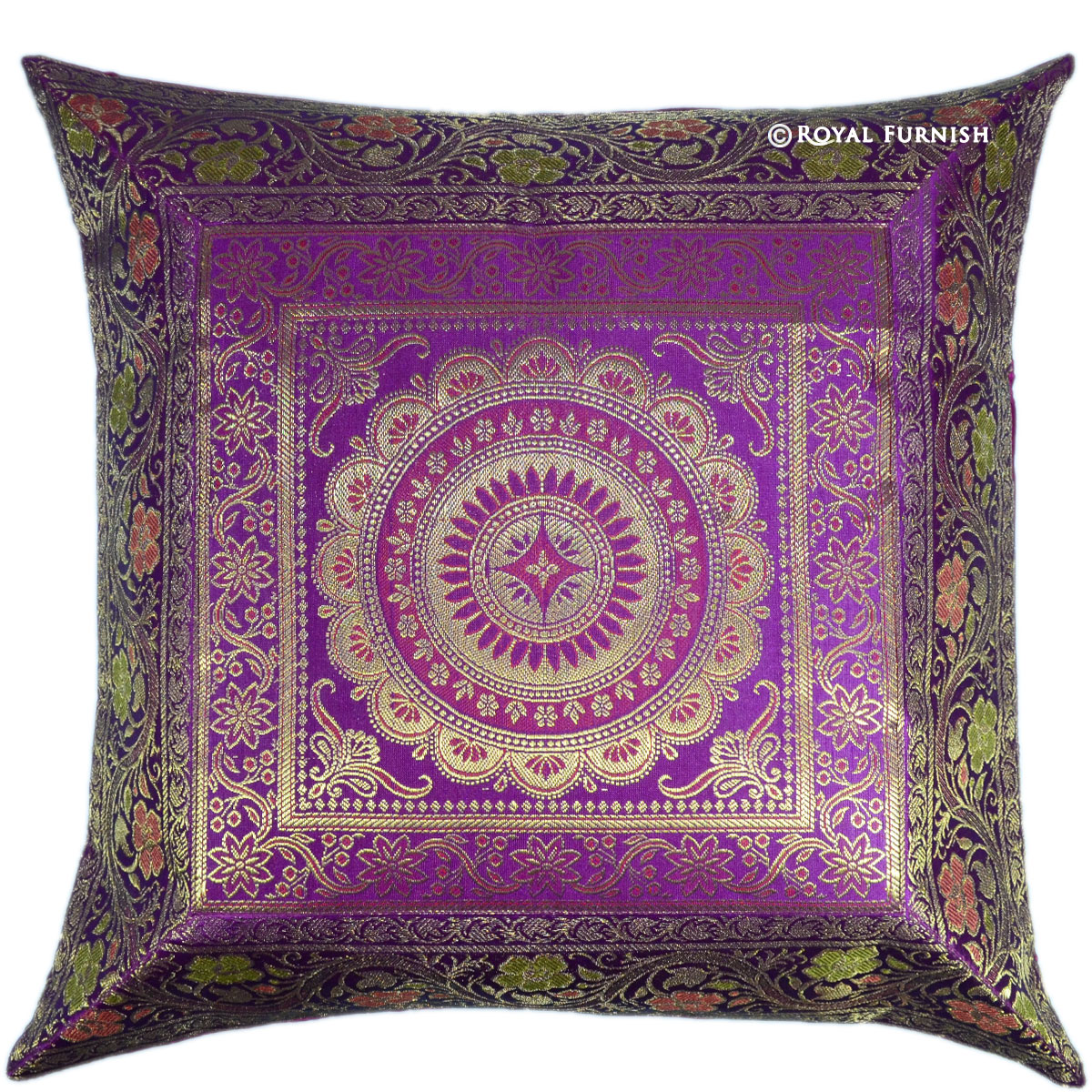17 Quot Purple Floral Circle Indian Silk Brocade Throw Pillow