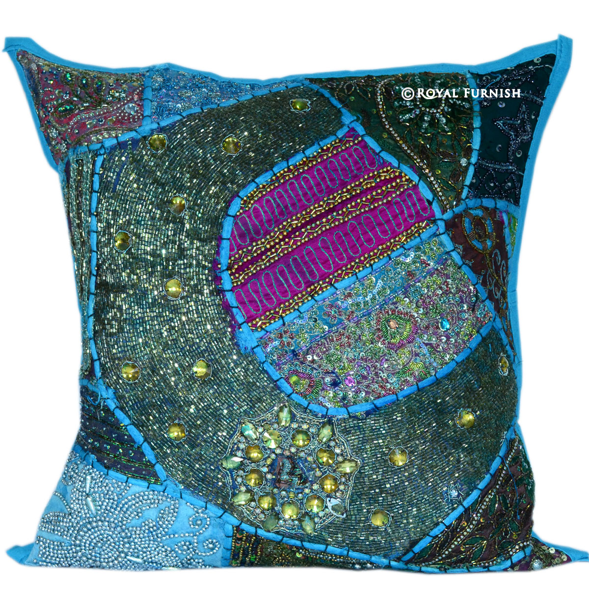 Blue Beaded Throw Pillow : 16