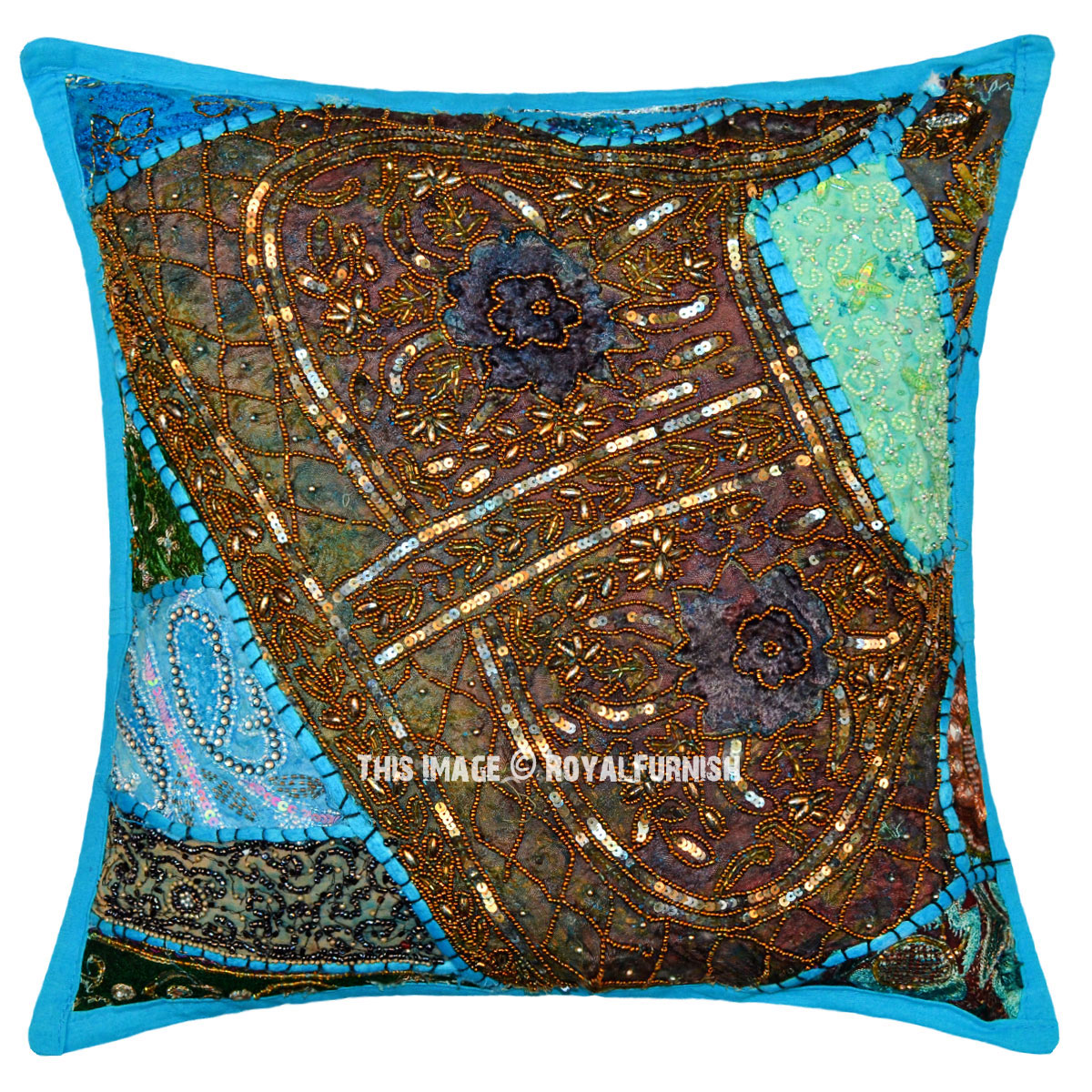16 Quot Antique Blue Sequin Beads Patchwork Embroidered Throw