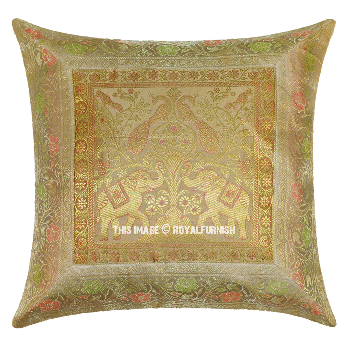Beige gold color indian elephant peacock silk brocade for Beige and gold pillows