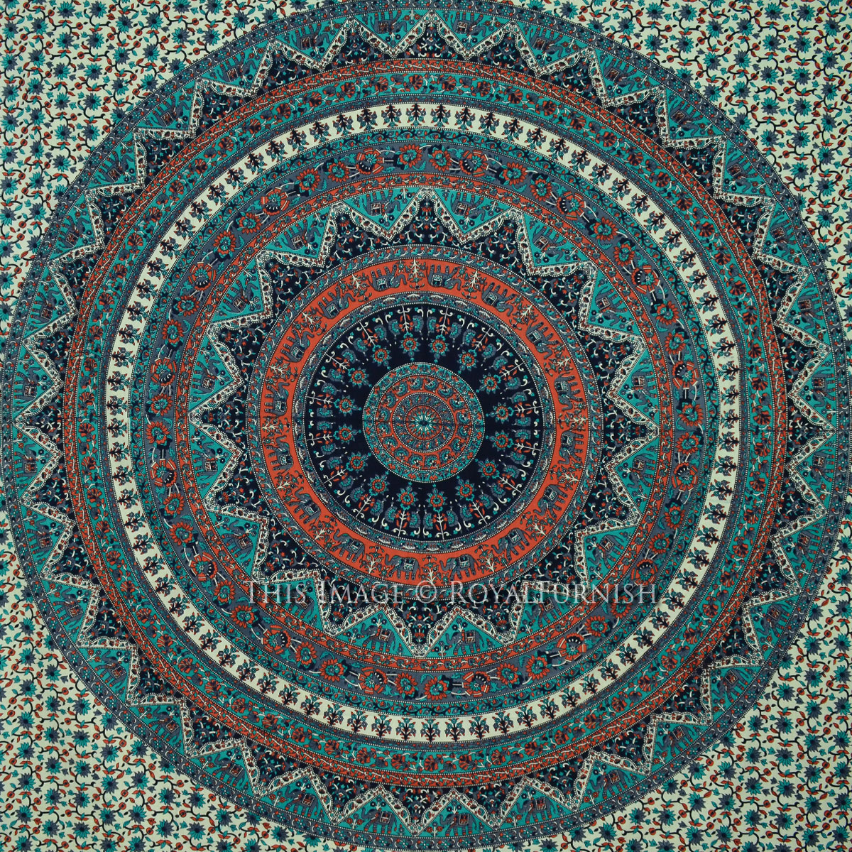 Queen Gray Multicolor Indian Psychedelic Bohemian Tapestry ...