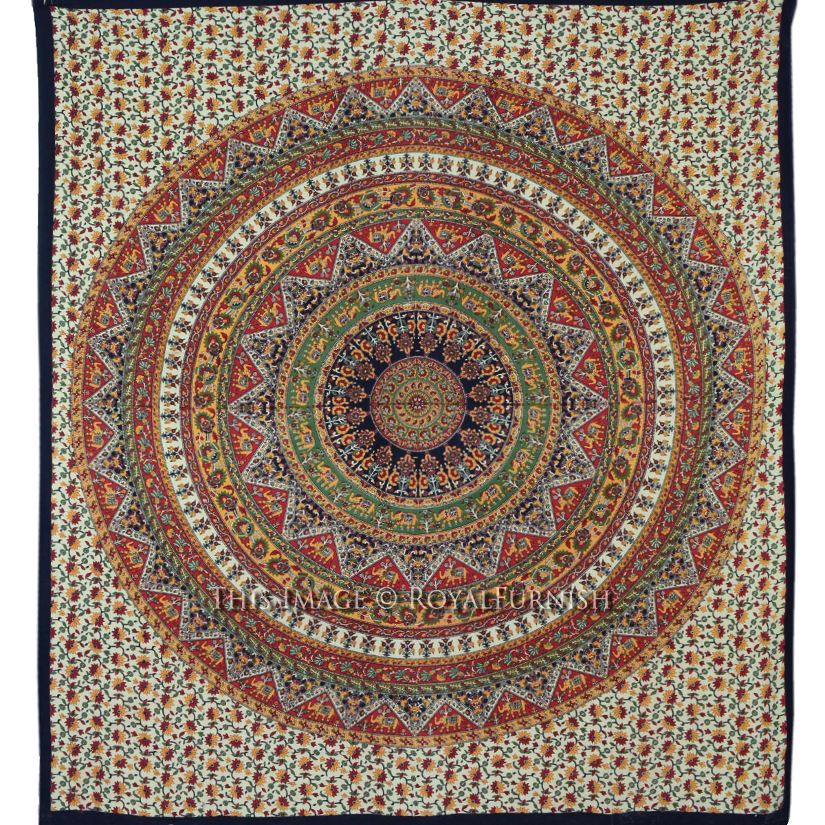Queen Orange Multicolor Hippie Mandala Bohemian Tapestry ...