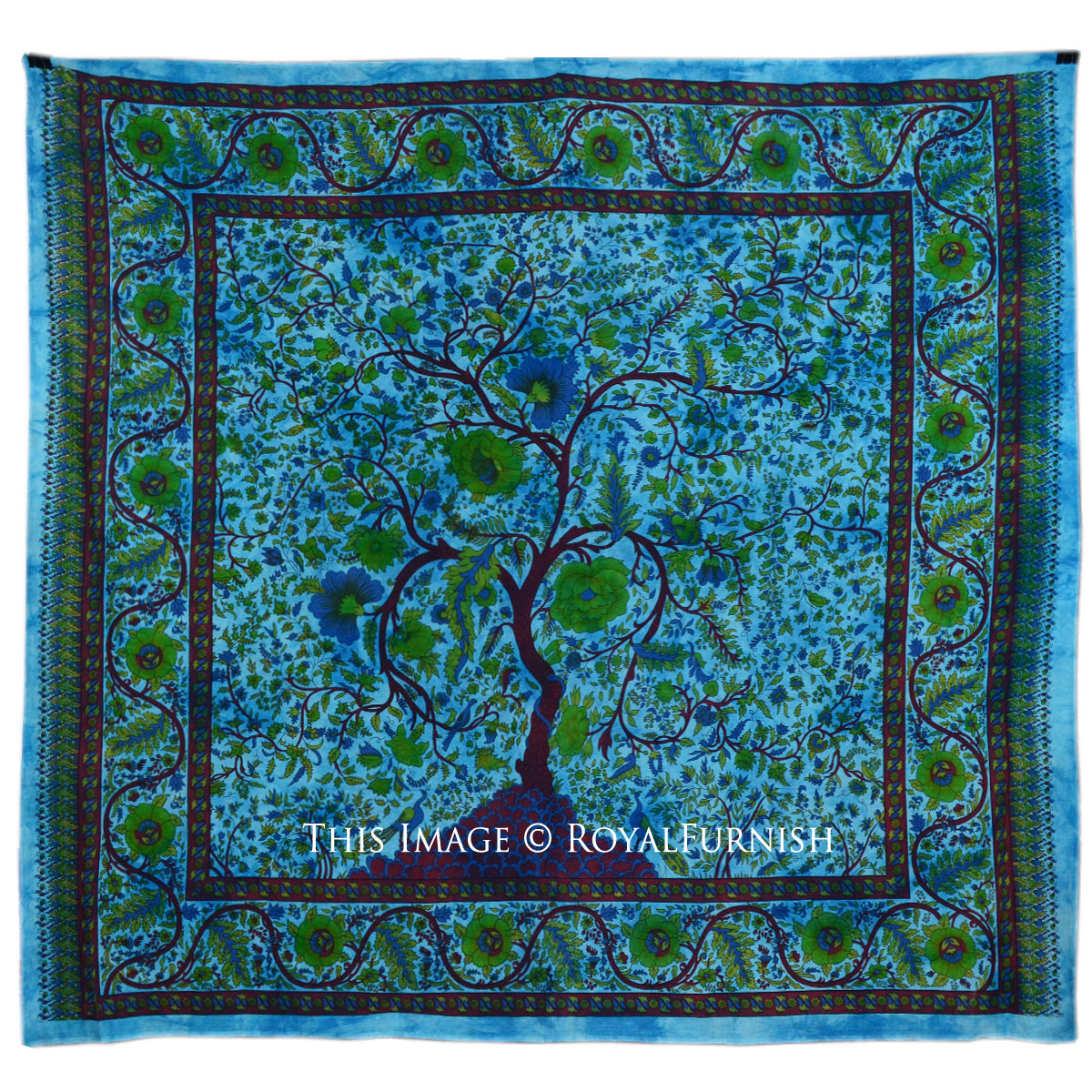 Large turquoise indian young tree hippie cotton fabric for Fabric wall art