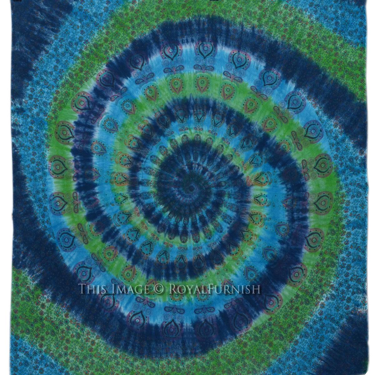 Multicolor Spiral Tie Dye Hippie Mandala Tapestry Wall