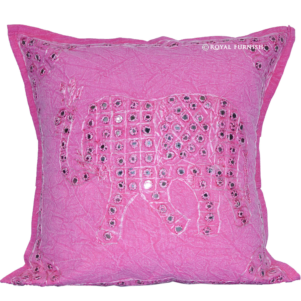 Pink Elephant Throw Pillow : Pink Elephant Design Mirror Embroidery Work Decorative Throw Pillow - RoyalFurnish.com