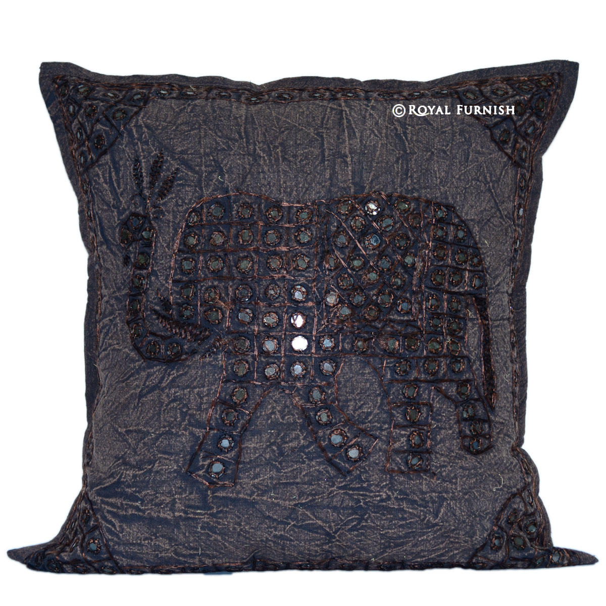 Decorative Pillows With Mirrors : Black Elephant Pattern Mirror Embroidered Cotton Throw Pillow Case - RoyalFurnish.com