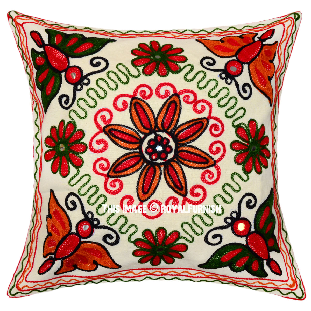 White woolen embroidered floral design indian throw pillow