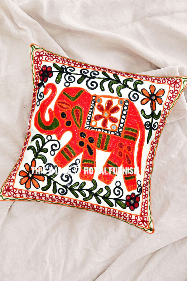 16 Quot Elephant Embroidery Woven Accent Outdoor Indian Throw