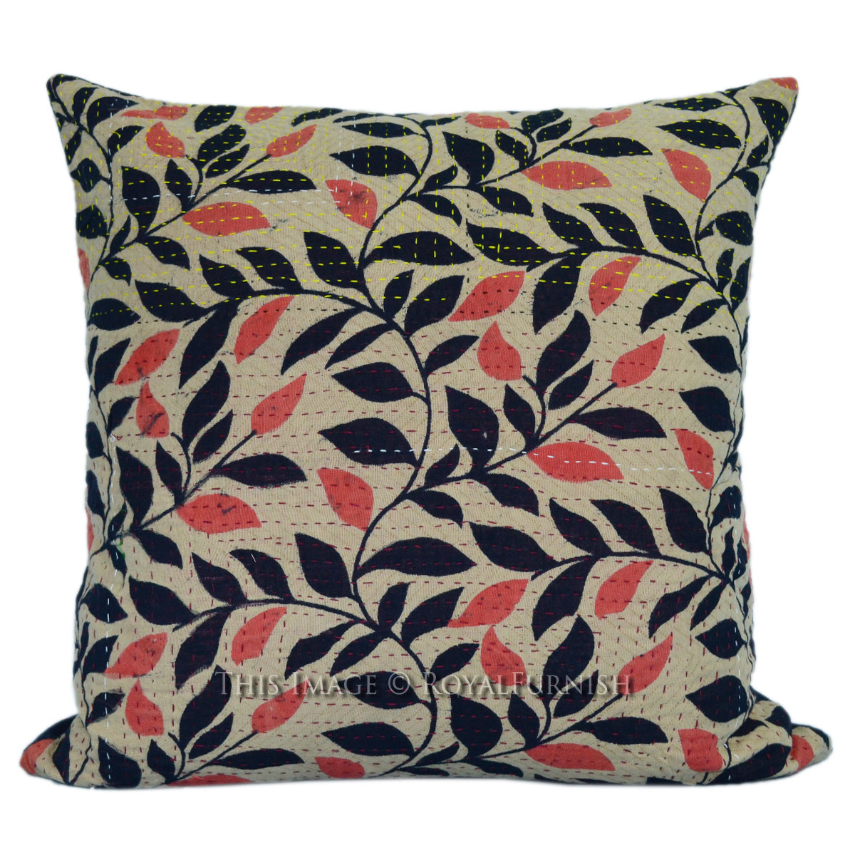 16x16 vintage old fabric kantha square throw pillow case - Fabric for throw pillows ...