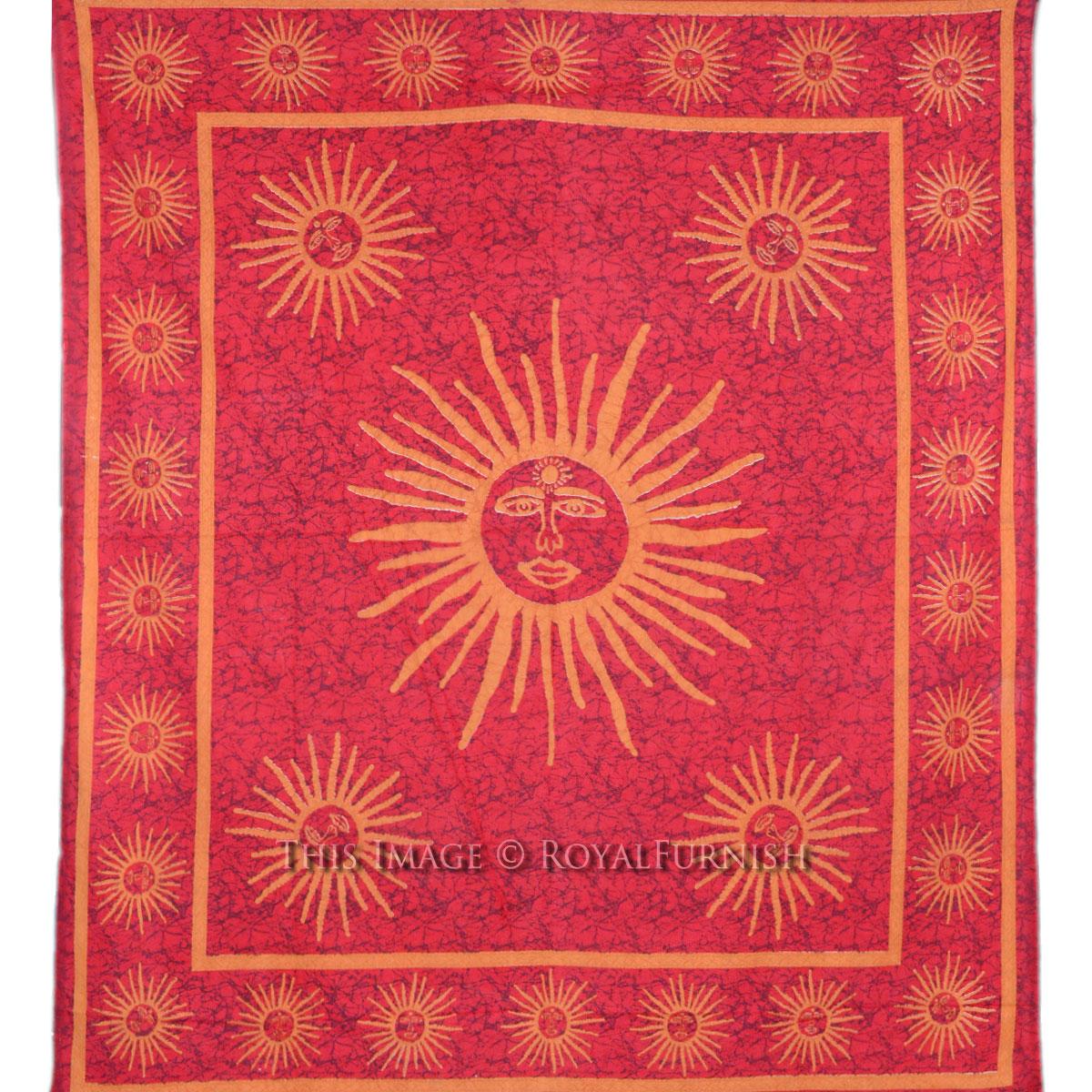 "90 x 84"" Red Large Celestial Burning Sun Cotton Tapestry Bedspread - RoyalFurnish.com"