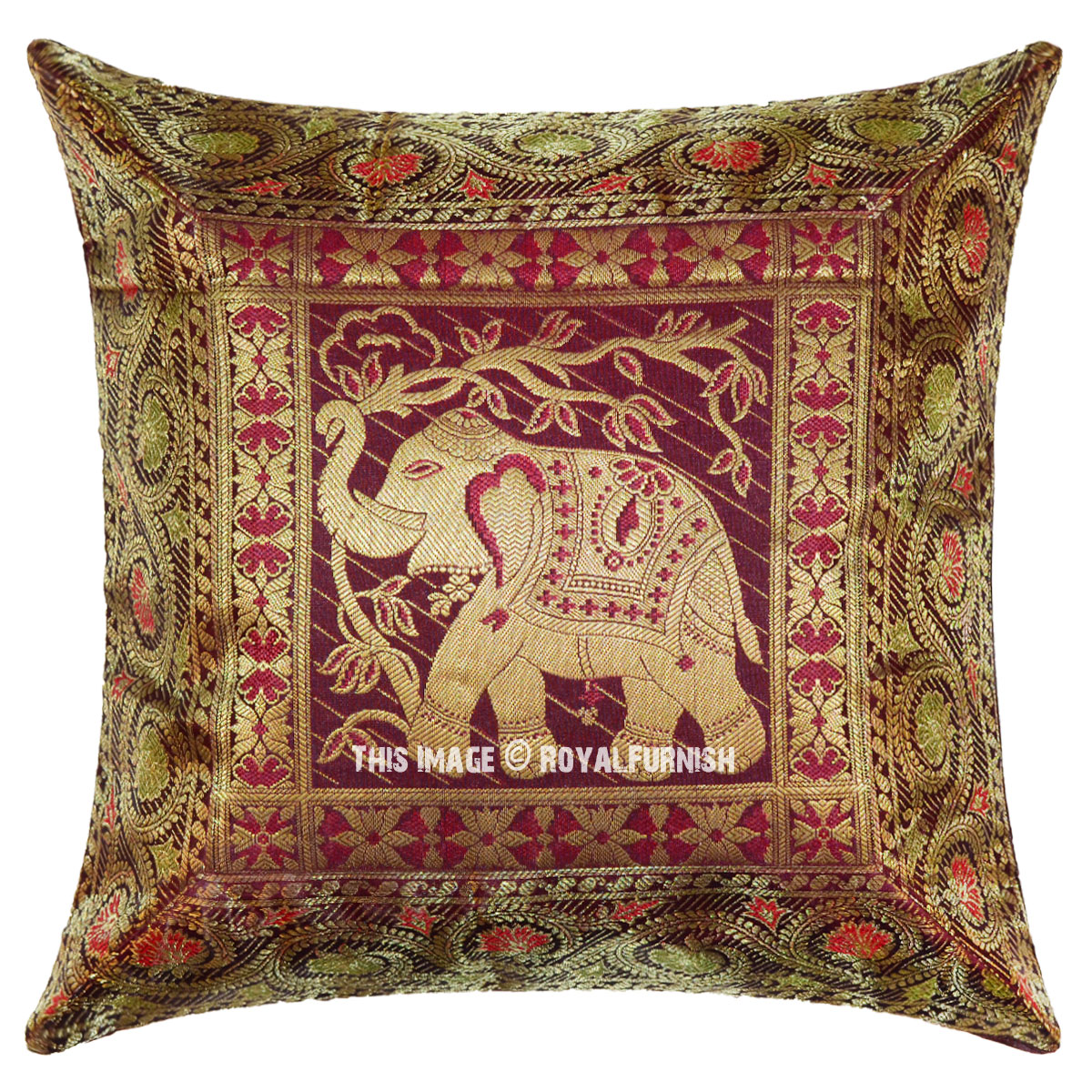 16 Quot Maroon Indian Poly Dupion Elephant Silk Brocade Pillow