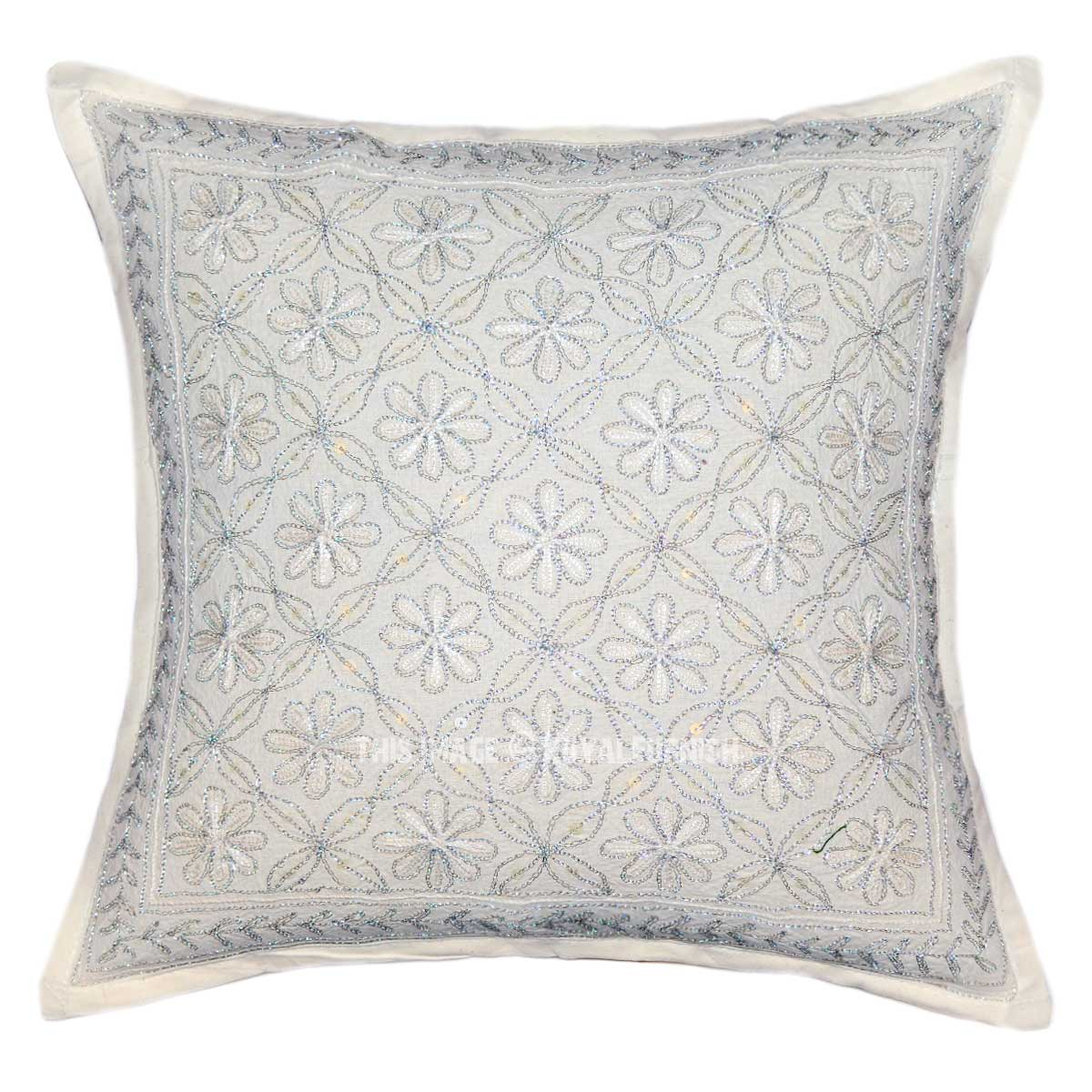 Embroidered Throw Pillow Covers : 16X16 White Hand Embroidered Unique Square Throw Pillow Cover - RoyalFurnish.com