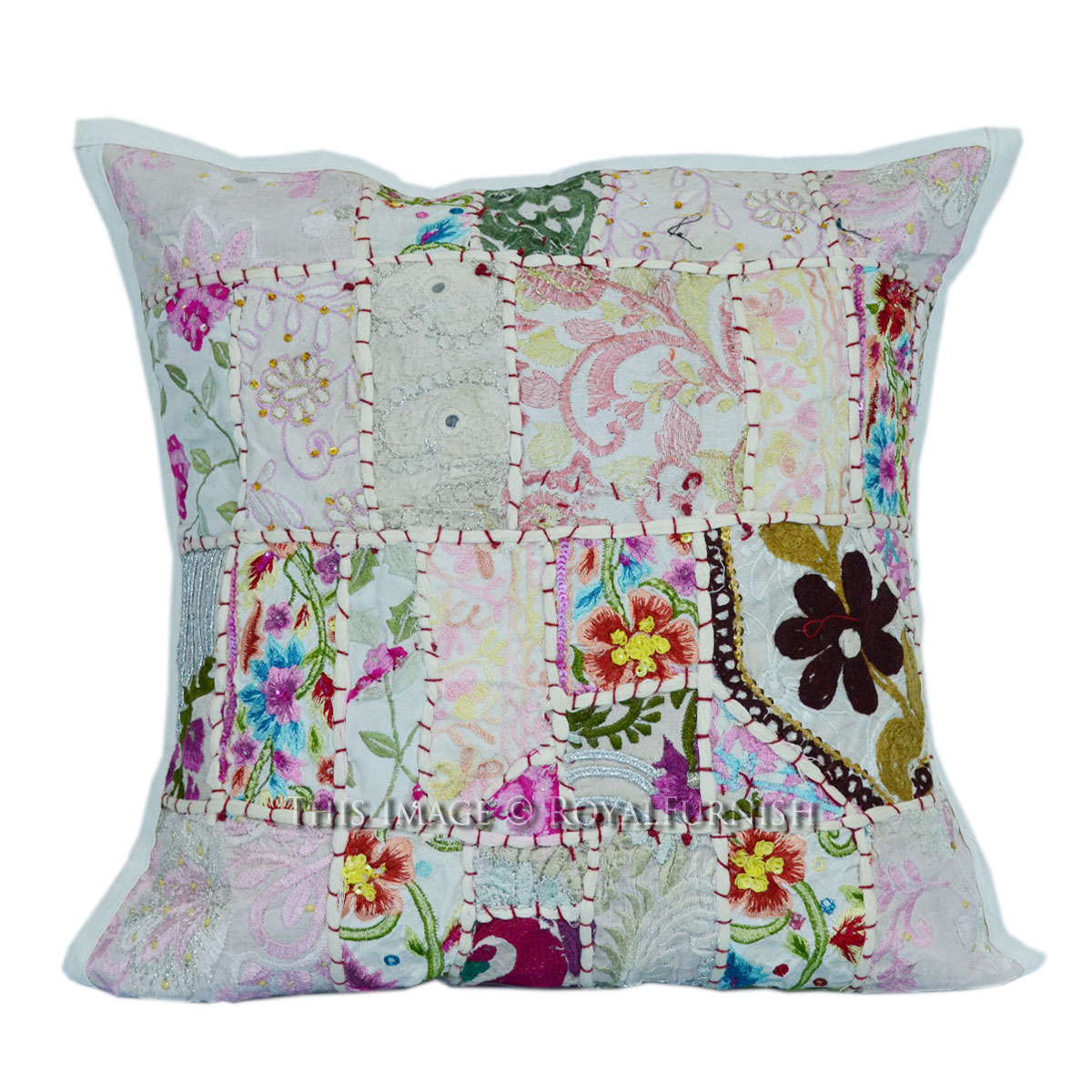 40x40 cm. Decorative White Sari Patchwork Throw Pillow Sham - RoyalFurnish.com