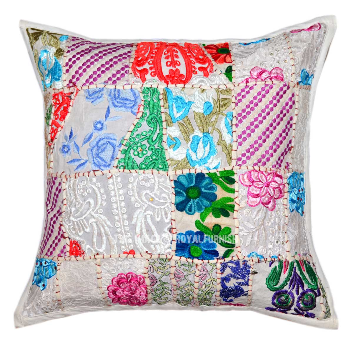 16x16 white multi patchwork embroidered boho throw pillow cover. Black Bedroom Furniture Sets. Home Design Ideas