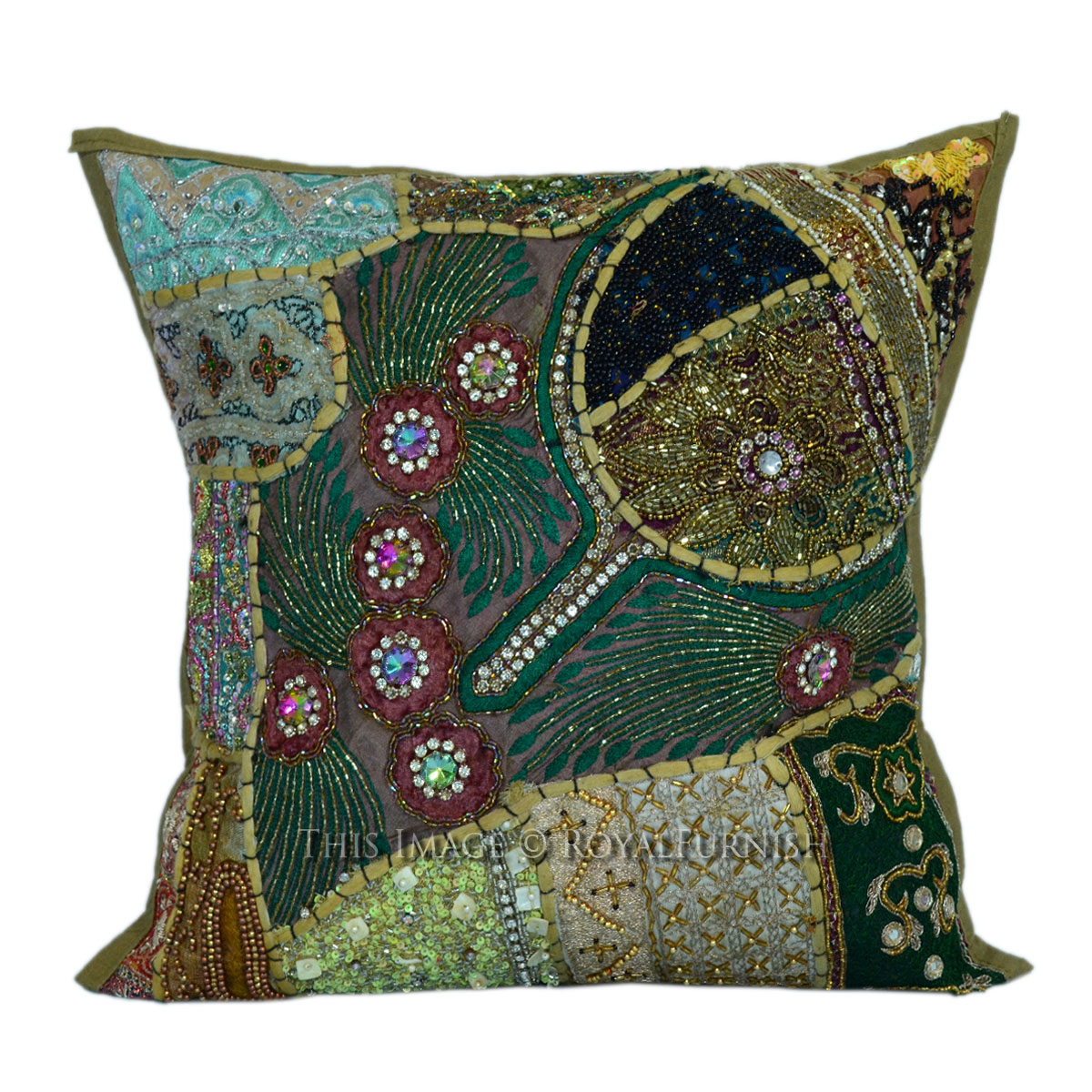 Decorative Pillows With Beads : 16x16 Decorative Handmade Beaded Sequin Square Pillow Cover - RoyalFurnish.com