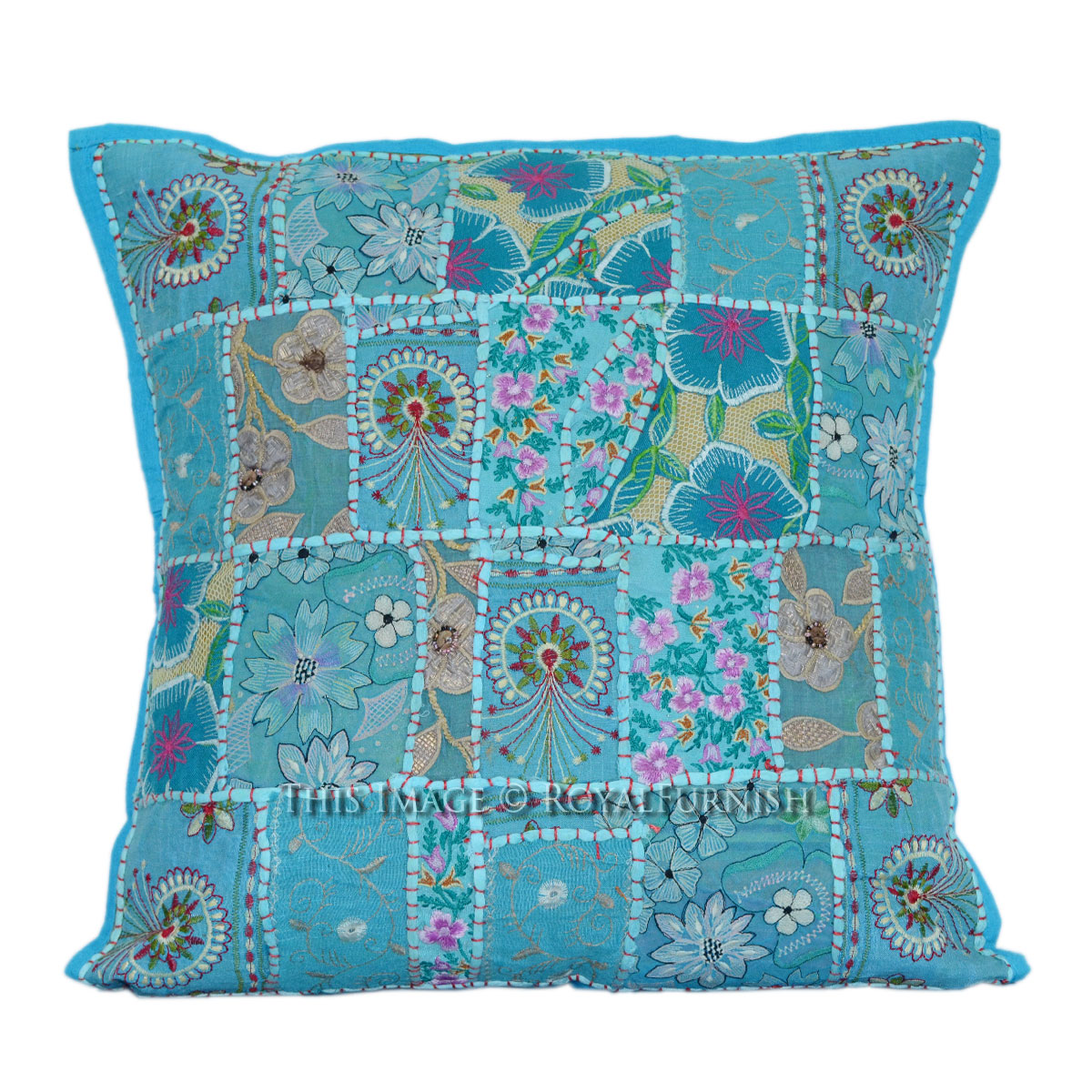 20 Inch Blue Square Box Patchwork Embroidery Pattern Toss Pillow Cover - RoyalFurnish.com