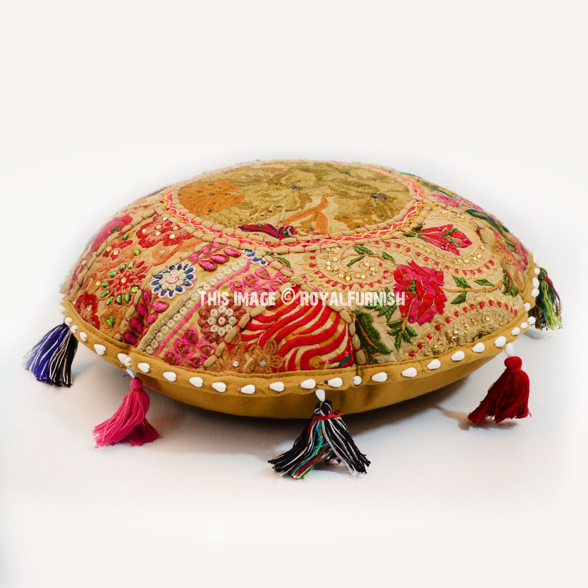 Green Small Round India Handmade Patchwork Floor Sitting ...