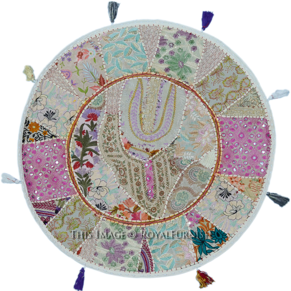 Giant Round Floor Pillows : 28 Inch Giant White Vintage Round Patchwork Floor Cushion Cover - RoyalFurnish.com