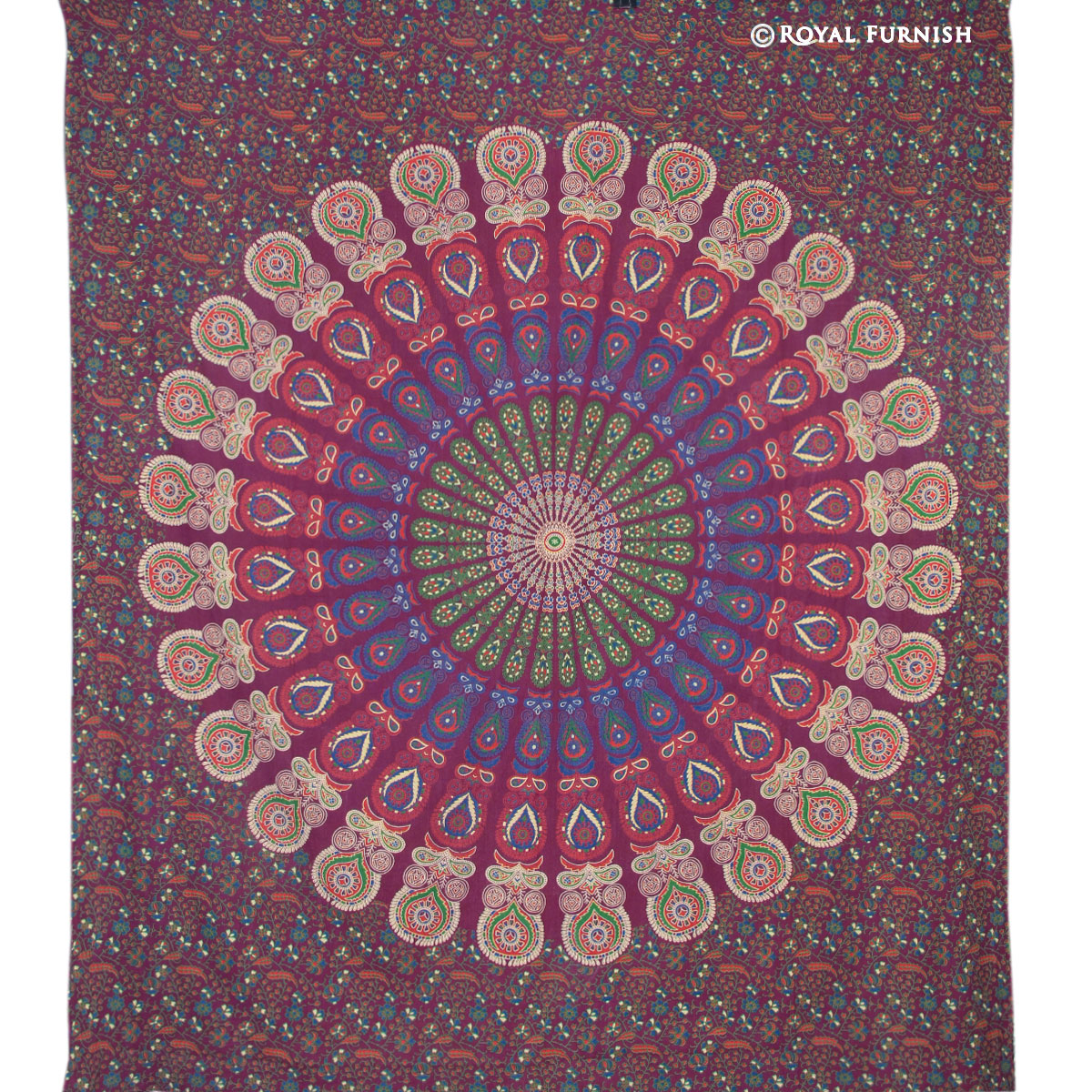 Multicolor Psychedelic Indian Mandala Hippie Bohemian ...