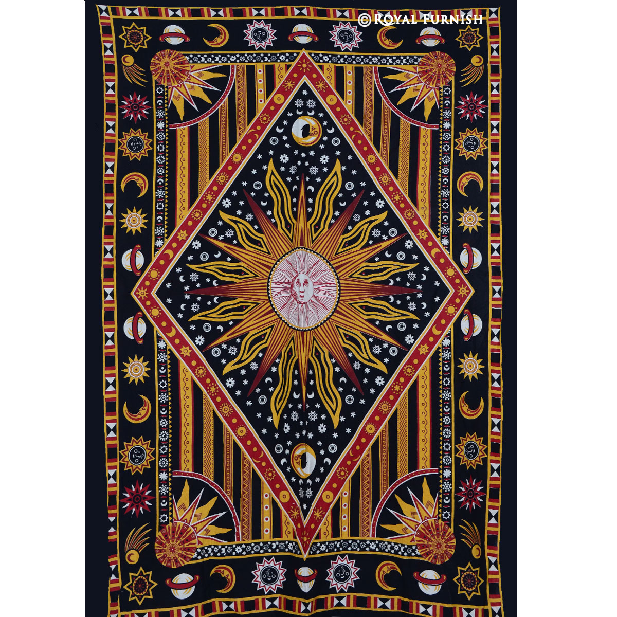 Twin Celestial Sun Moon Stars Hippie Cotton Tapestry Wall