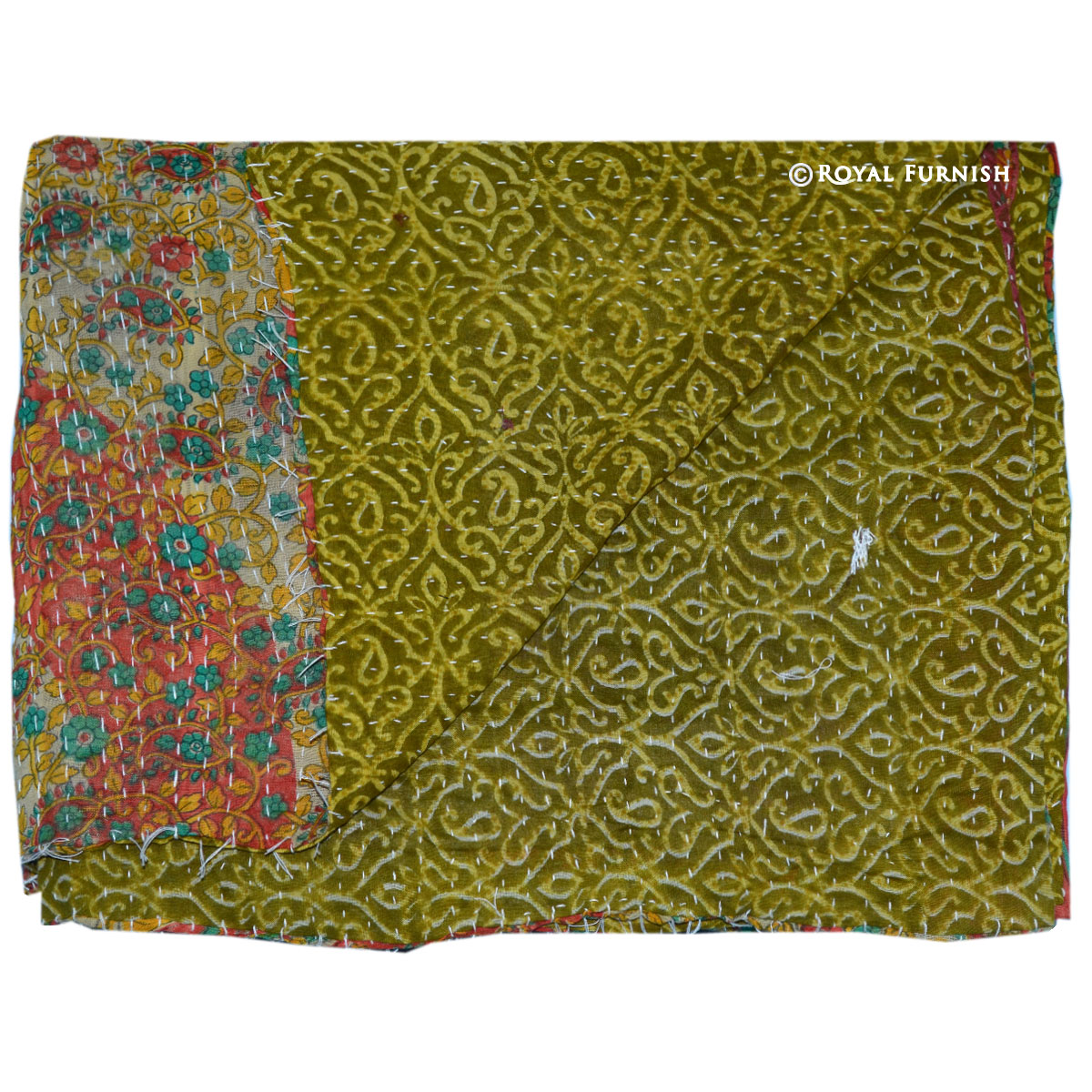 Twin Multicolor Vintage Kantha Reversible Quilt Throw