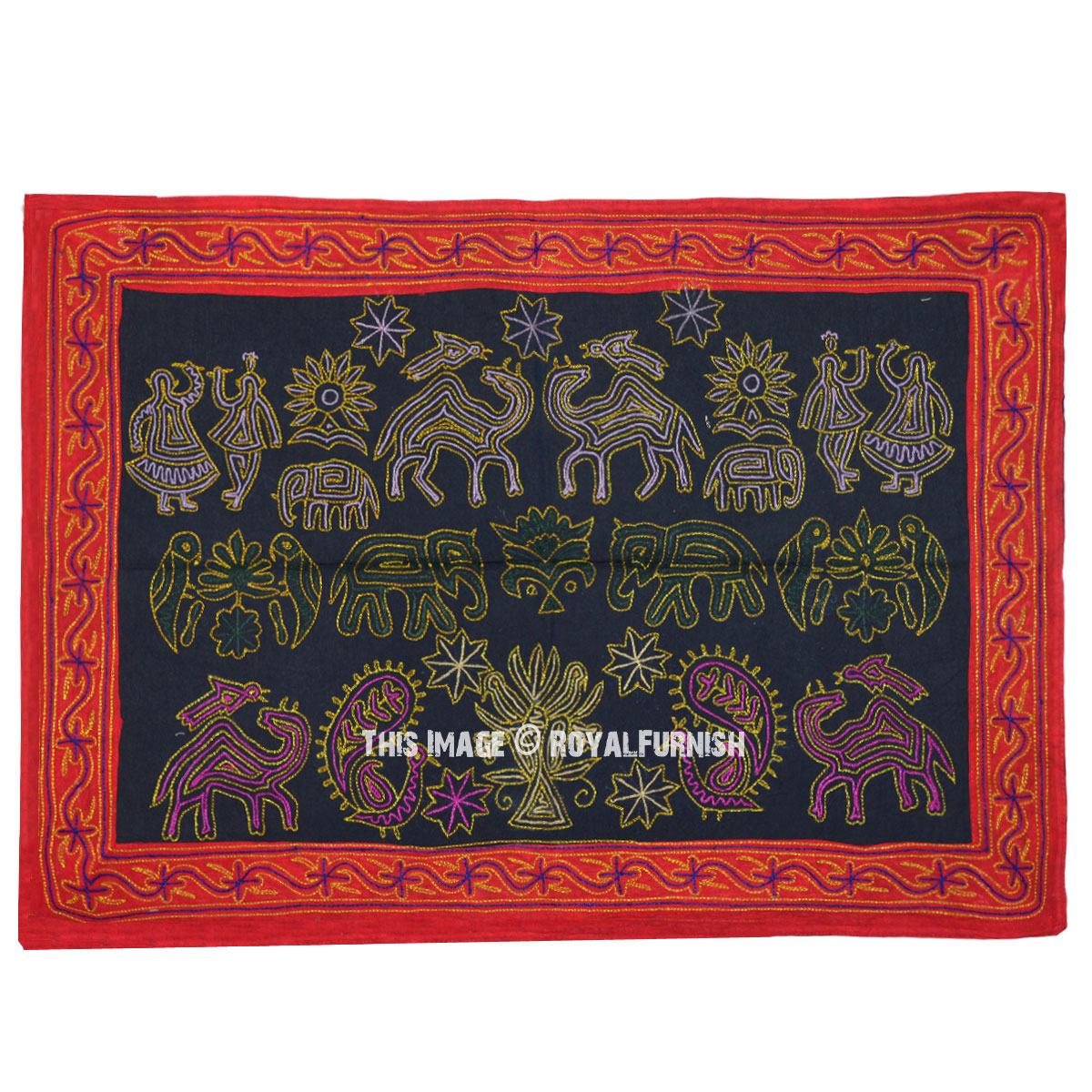Indian Bohemian Hand Embroidered Fabric Wall Hanging Tapestry Royalfurnish Com