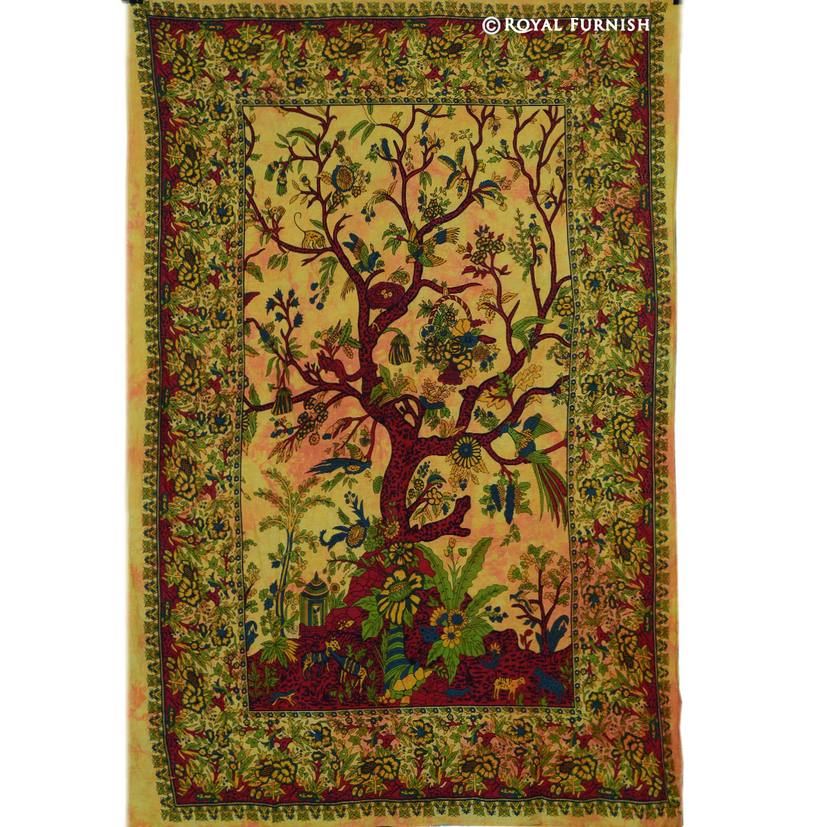 Yellow twin indian tree of life fabric tapestry wall for Fabric wall art