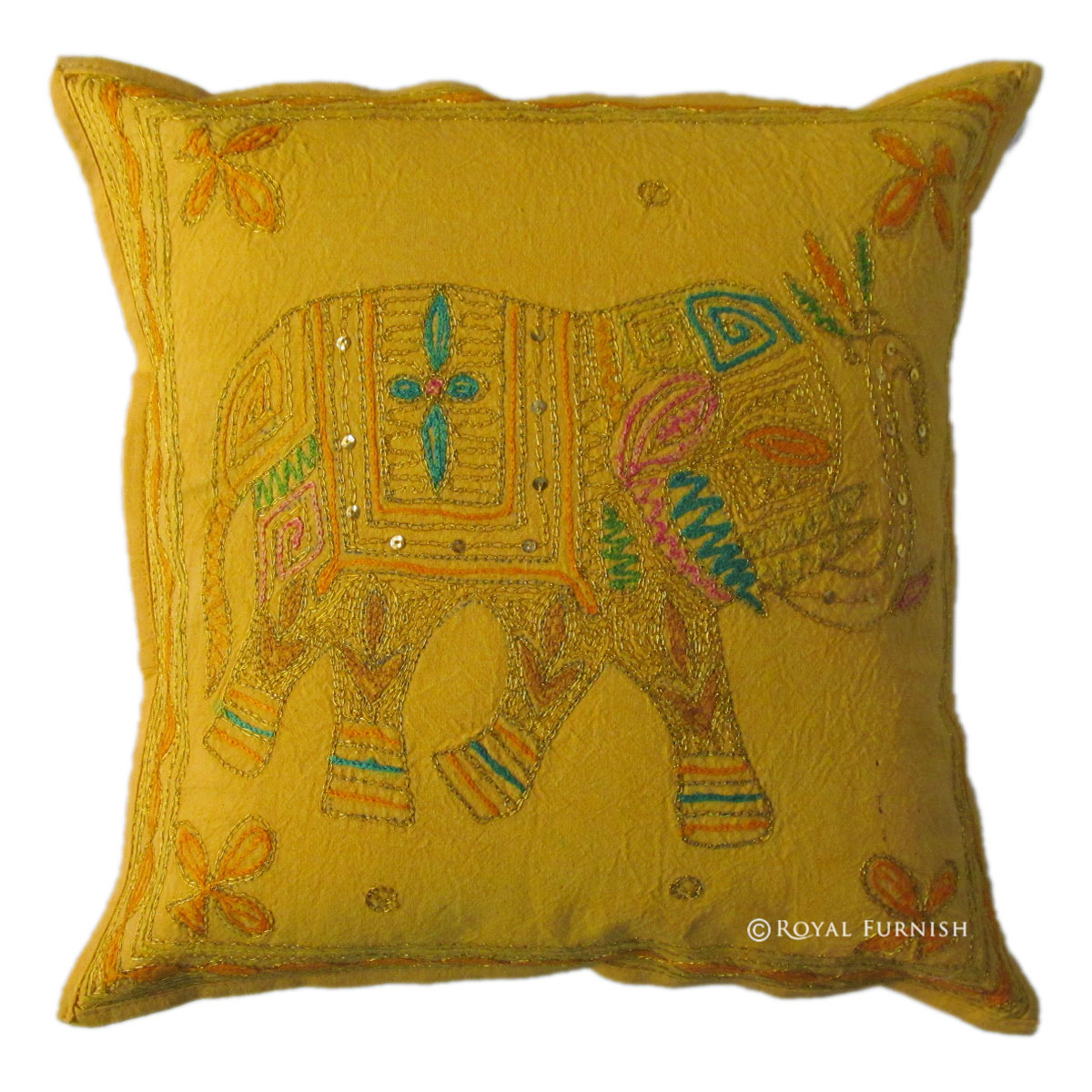Yellow Embroidered Throw Pillows : Yellow Indian Handicraft Elephant Golden Embroidered Decorative Throw Pillow - RoyalFurnish.com