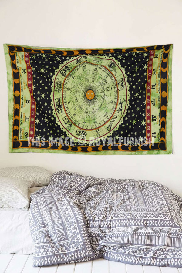 Twin Green Zodiac Wall Tapestry Horoscope Astrology