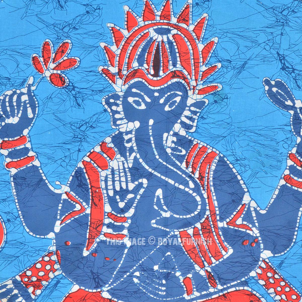 Twin Gray Batik Ganesha Tapestry Wall Hanging