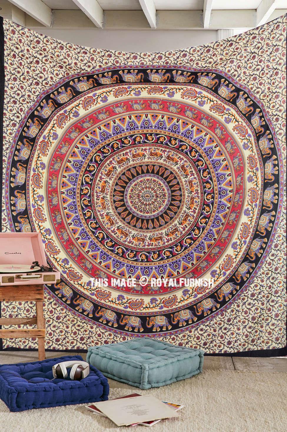 Large Purple Amp Orange Bohemian Mandala Wall Tapestry Boho