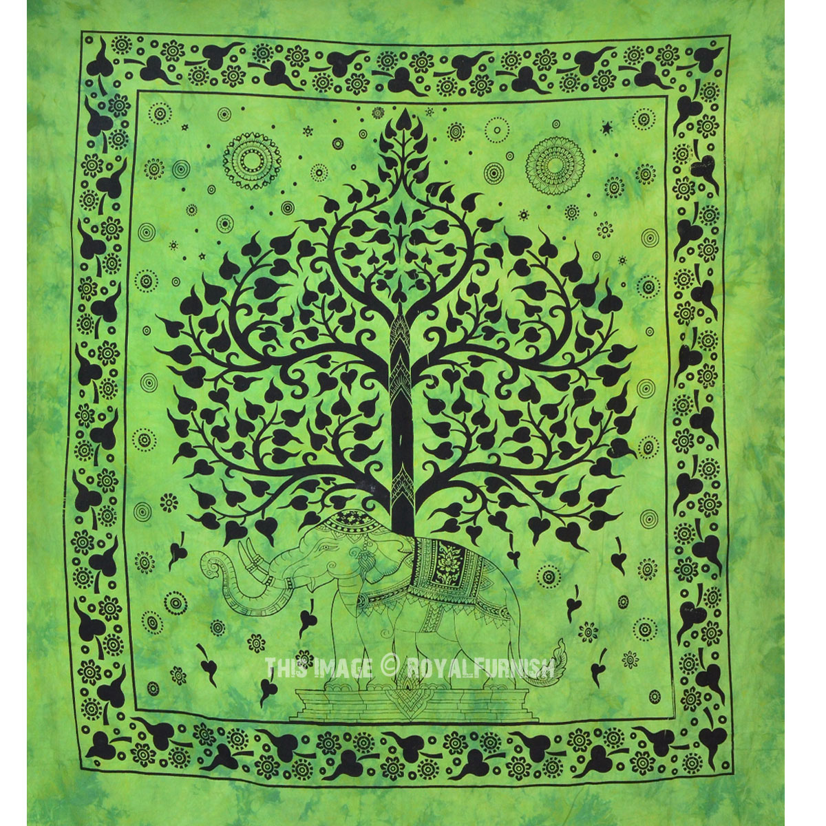 Green Elephant Tree Good Luck Tapestry Wall Hanging