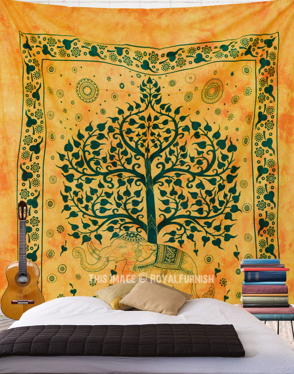 Queen Yellow Elephant Tree Tie Dye Wall Tapestry, Hippie Fringed ...