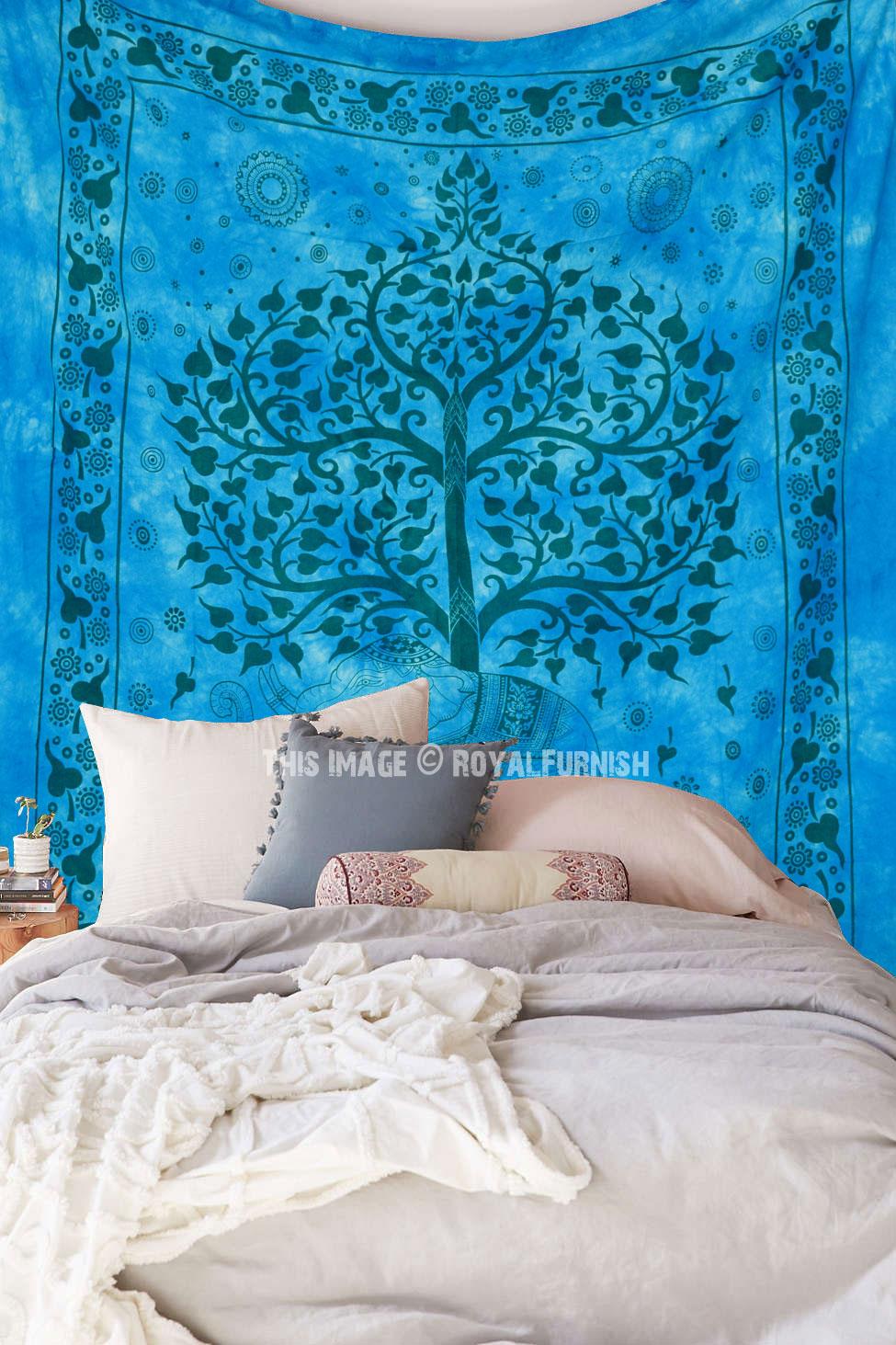 Blue Tie Dye Elephant Under Tree Wall Tapestry Indian
