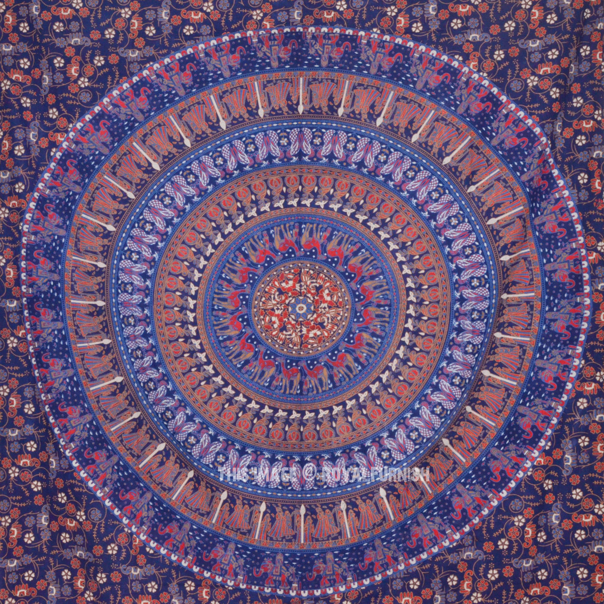 Blue Bohemian Mandala Wall Tapestry, Small Boho Hippie ...