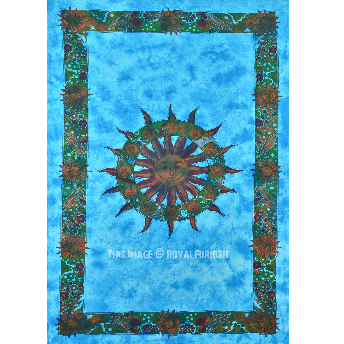 turquoise blue celestial sun wall tapestry small tie dye