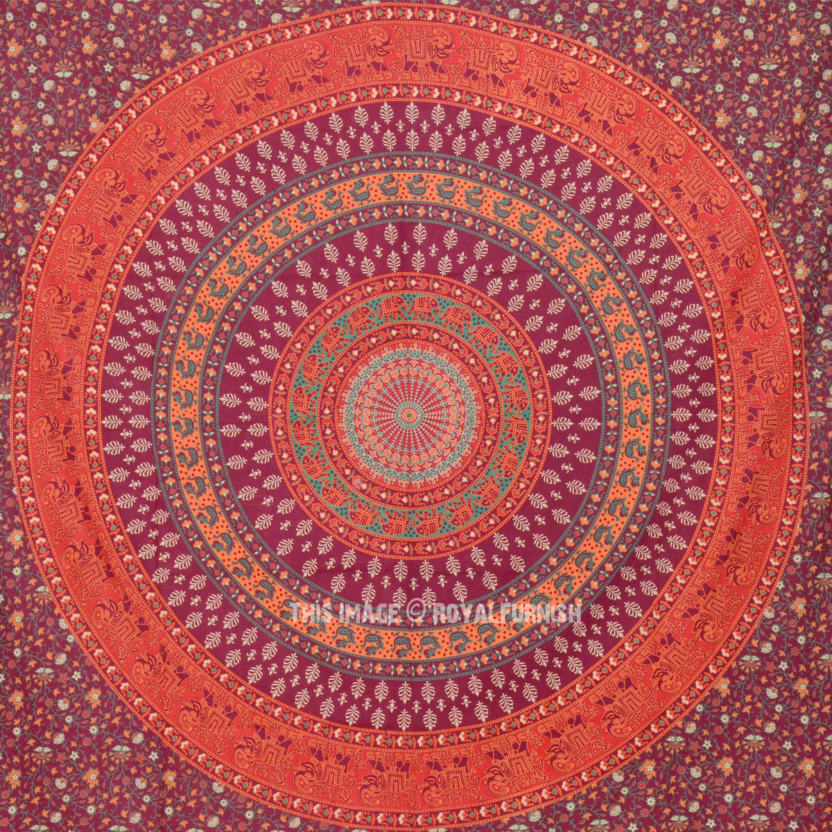 Maroon Elephant Amp Floral Mandala Wall Tapestry Hippie